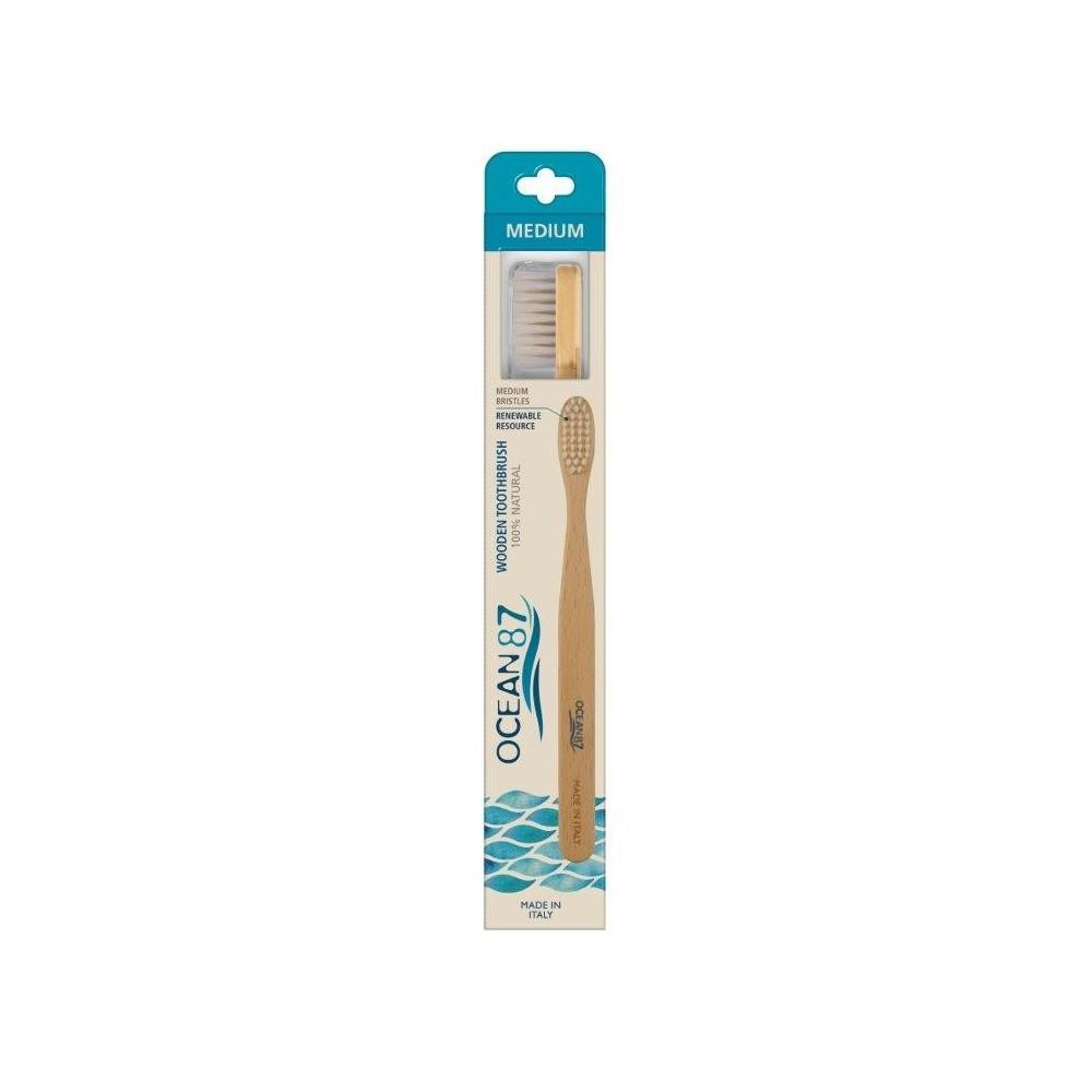 OCEAN 87 Zubní kartáček s dřevěnou rukojetí a s přírodními štětinami střední tvrdost pasta del capitano - 1