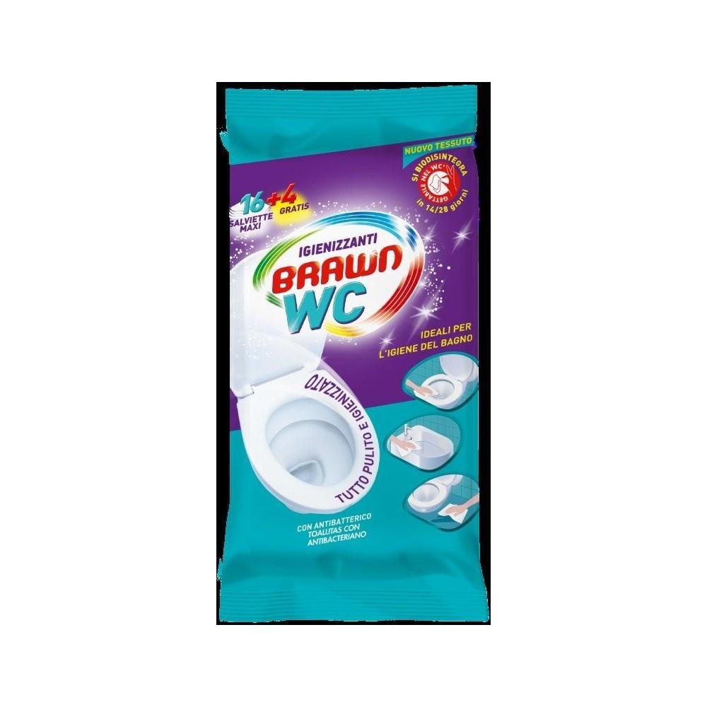 BRAWN antibakteriální a dezinfekční vlhčené utěrky wc maxi 16 + 4 ks Brawn - 1